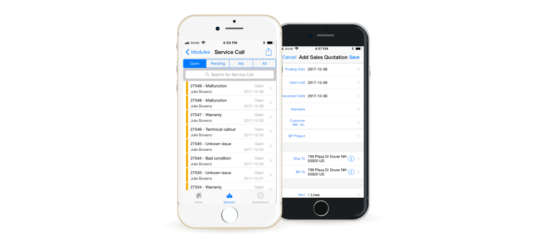 SAP B1's mobile apps